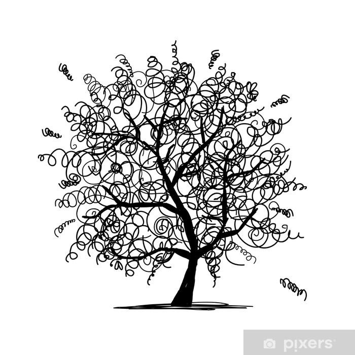 Sticker Pixerstick Résumé arbre crépus pour votre conception - Arbres