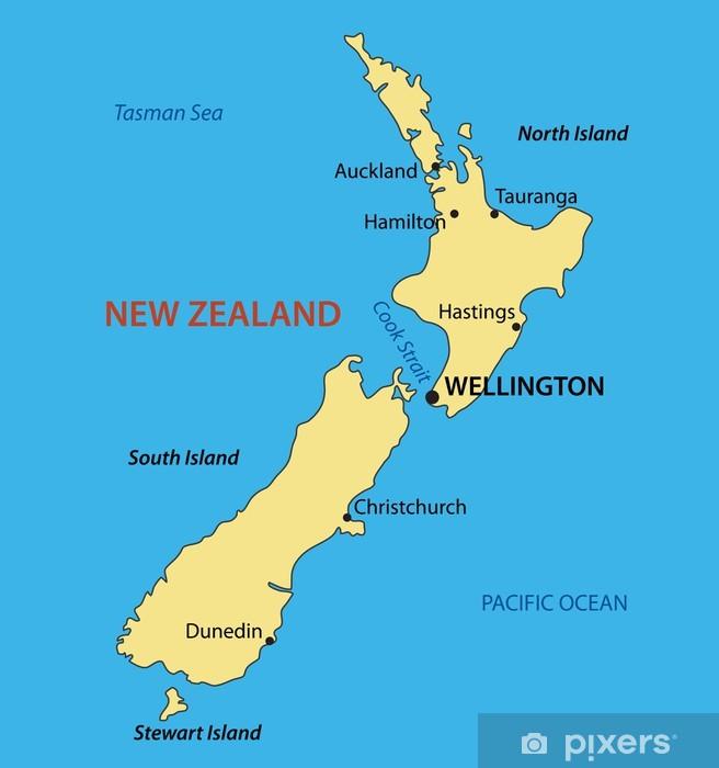 New Zealand Vektor Kort Pixerstick Klistermaerke Pixers Vi