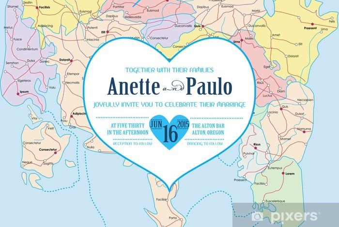 Naklejka Vintage Wedding Invitation Card Theme Travel Atlas W Wektorze Pixerstick