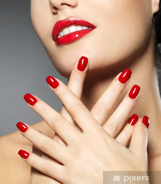 woman with fashion red nails and sensual lips Pixerstick Sticker - Themes