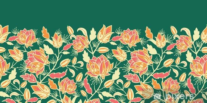 Vinyl-Fototapete Vector magische Blumen und Blätter elegant horizontal nahtlose - Blumen