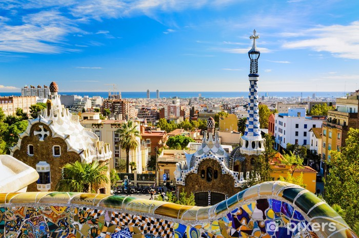 Park Guell in Barcelona, Spain Vinyl Wall Mural - Themes