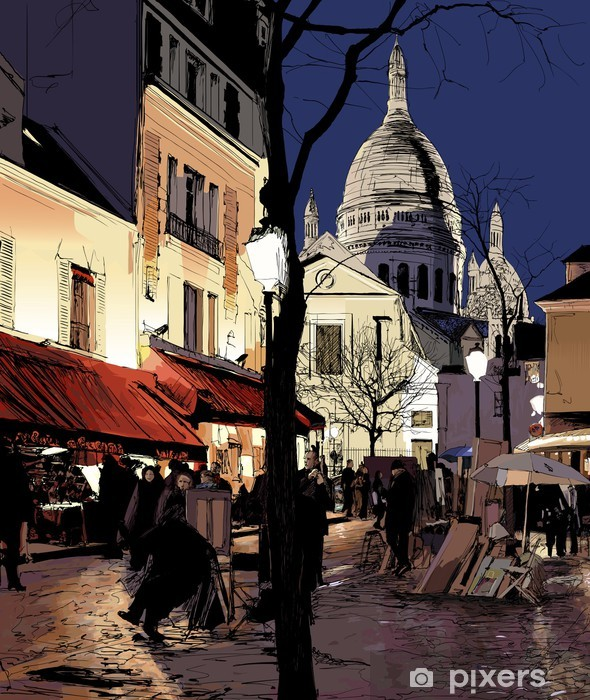 Naklejka Pixerstick Montmartre w zimie - Tematy