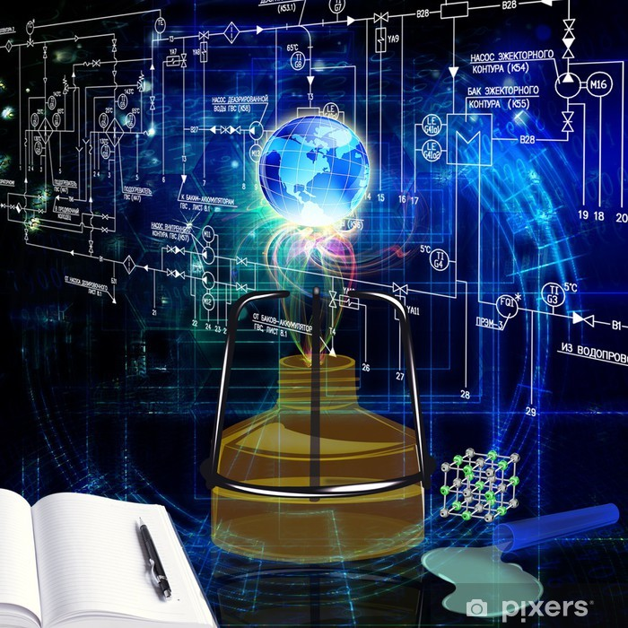 Fototapeta winylowa Projektowanie chemii innowacyjnej technologii. Nauka w tle - Nauki stosowane i ścisłe