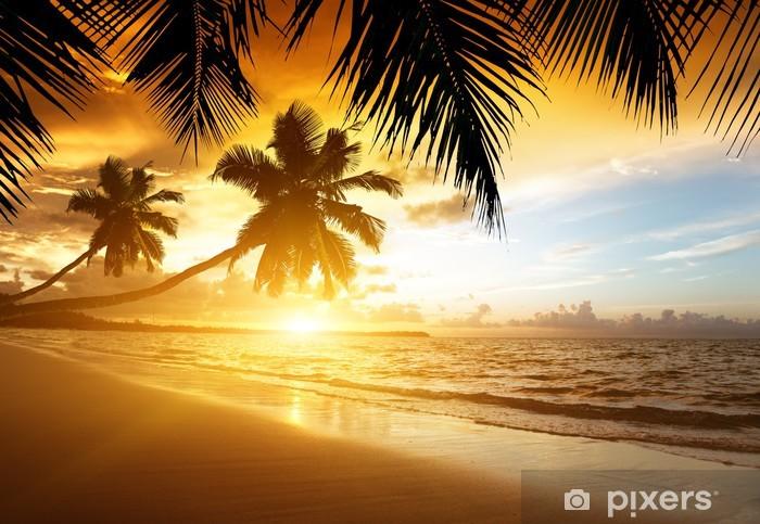 sunset on the Caribbean sea Pixerstick Sticker - Palm trees
