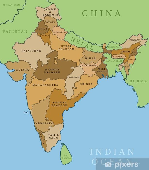 Dekor Indien Sager Administrativa Indelningen Vektor Karta