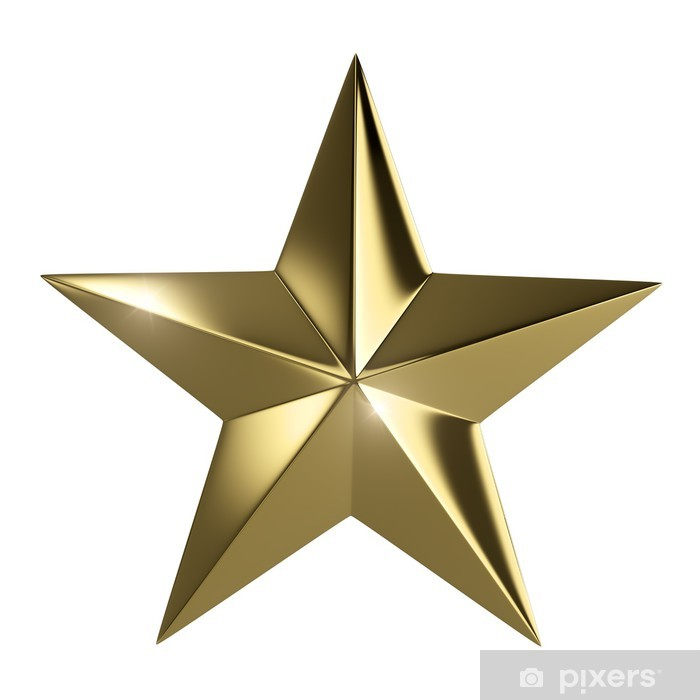 Golden star isolated with clipping path Wall Mural - Vinyl