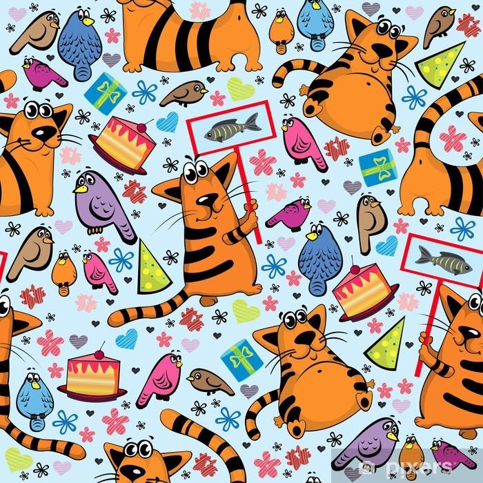 Poster Modèle de dessin animé avec les chats et les oiseaux - Mammifères