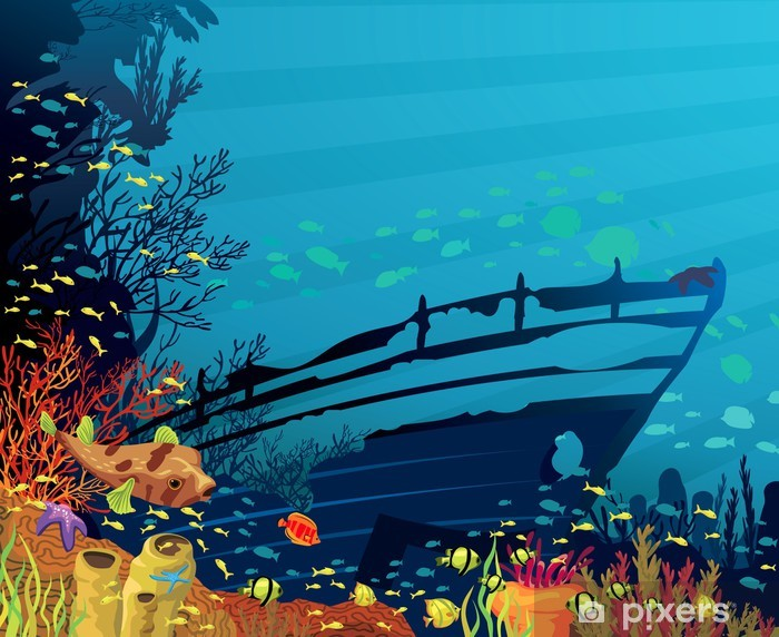 Vinilo Pixerstick Arrecifes de coral con peces de colores - Arrecife de coral