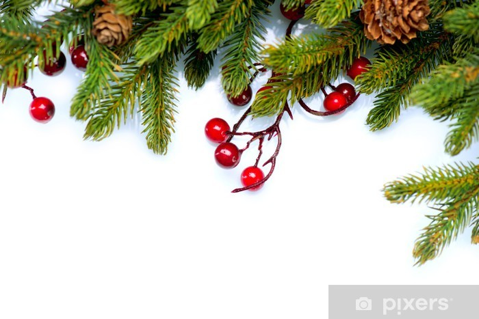 Christmas Tree Border Design Isolated on white Wall Mural • Pixers® • We live to change