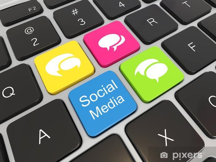 Social media on laptop keyboard  Sticker - Pixerstick