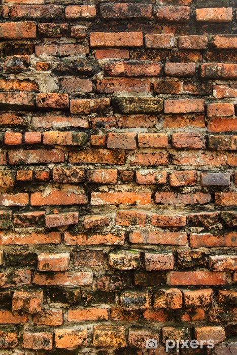 Old grungy orange brick wall Vinyl Wall Mural - Backgrounds