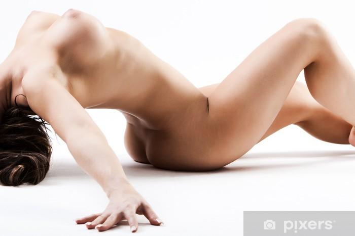Pixerstick Sticker Naakt vrouw met grote borsten die achteruit buigt over - Thema's