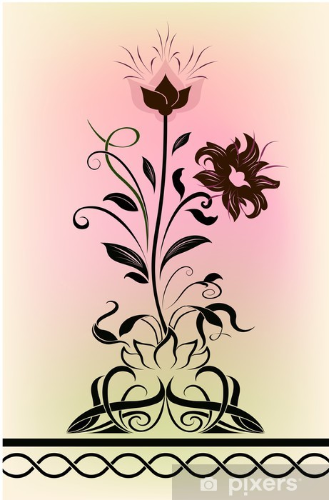 Abstract blossoming flower shape Vinyl Wall Mural - Seasons