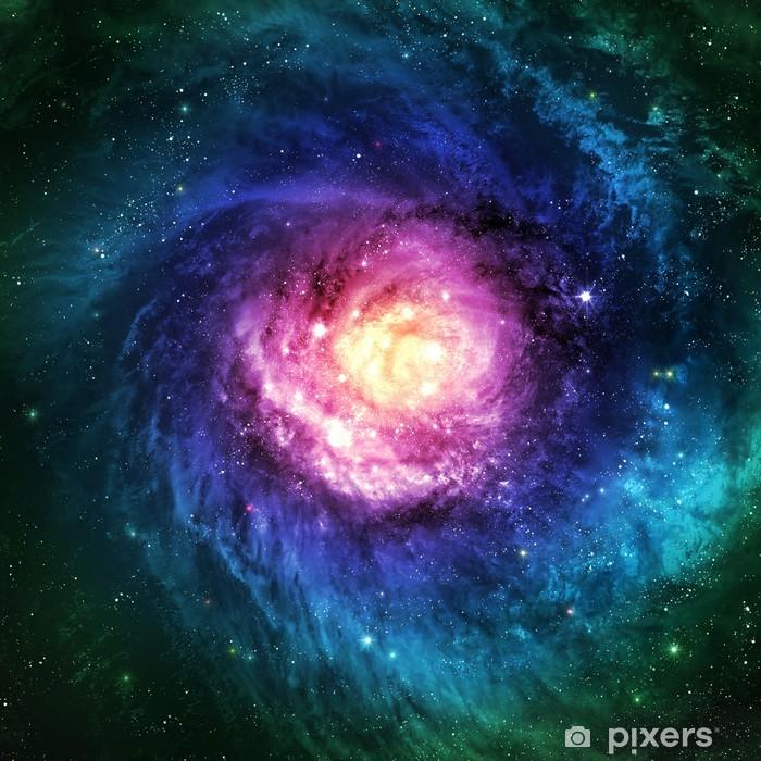Naklejka Pixerstick Niewiarygodnie piękna galaktyka spiralna gdzieś w przestrzeni kosmicznej - Wszechświat