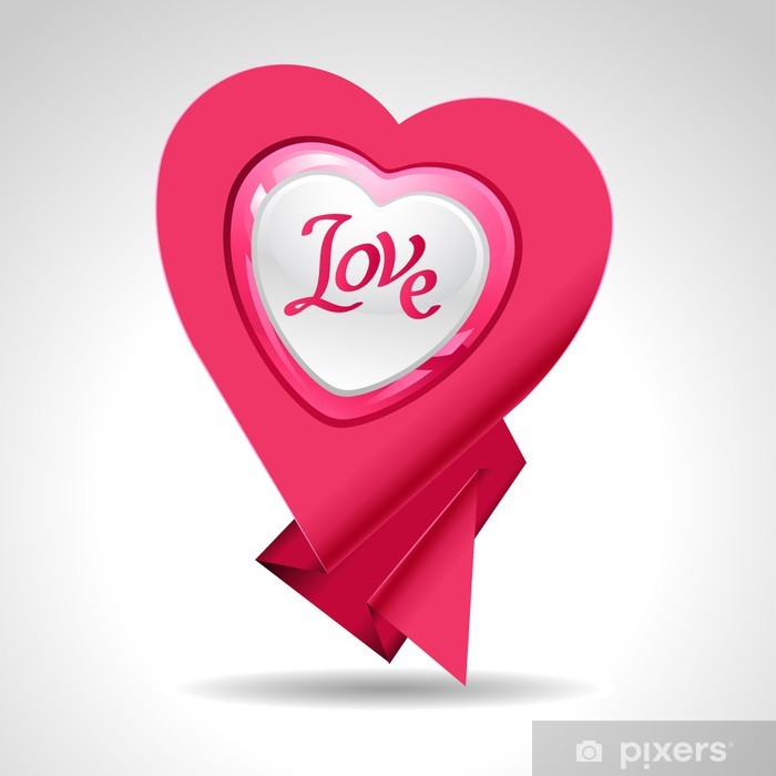 Valentine's Day vector background. Origami speech bubble. Vinyl Wall Mural - Backgrounds