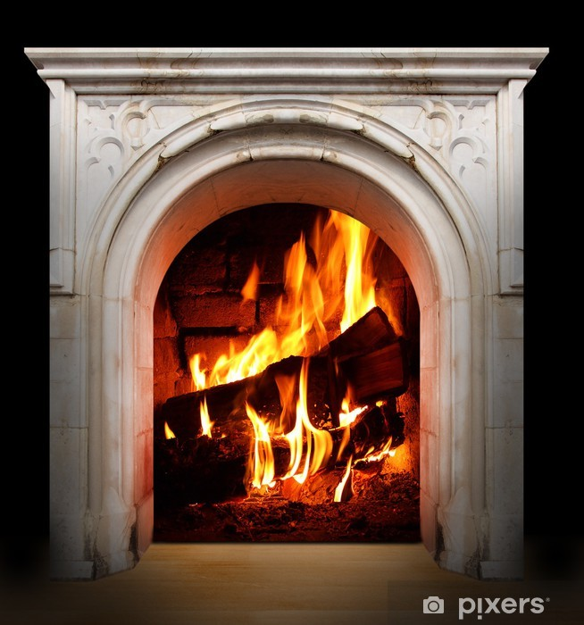 Vintage fireplace with burning logs. Renewable energy concept. Vinyl Wall Mural - iStaging