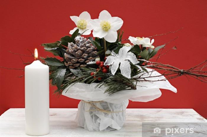 Vinilo Arreglo Floral Con Rosa De Navidad Pixerstick