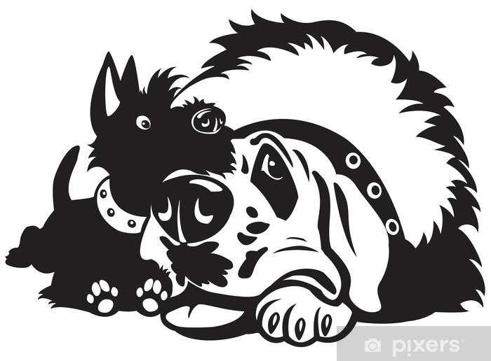 Adesivo cartoni animati cani bianco nero u pixers viviamo per