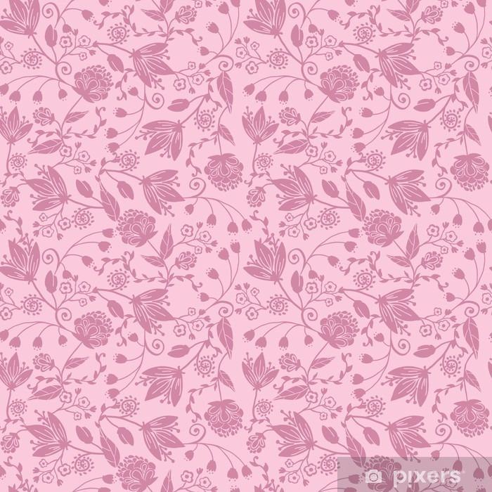 Kendinden Yapışkanlı Duvar Resmi Vektör mor siluetler çiçekler zarif sorunsuz desen - Çiçek ve bitkiler