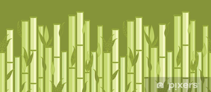 Carta da Parati in Vinile Vector steli di bambù e foglie orizzontale seamless pattern - Temi