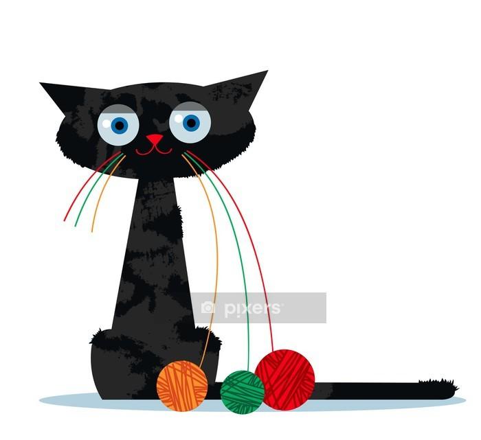 Vinilo para Pared Dibujos animados del gato y el ovillo de hilo - Vinilo para pared