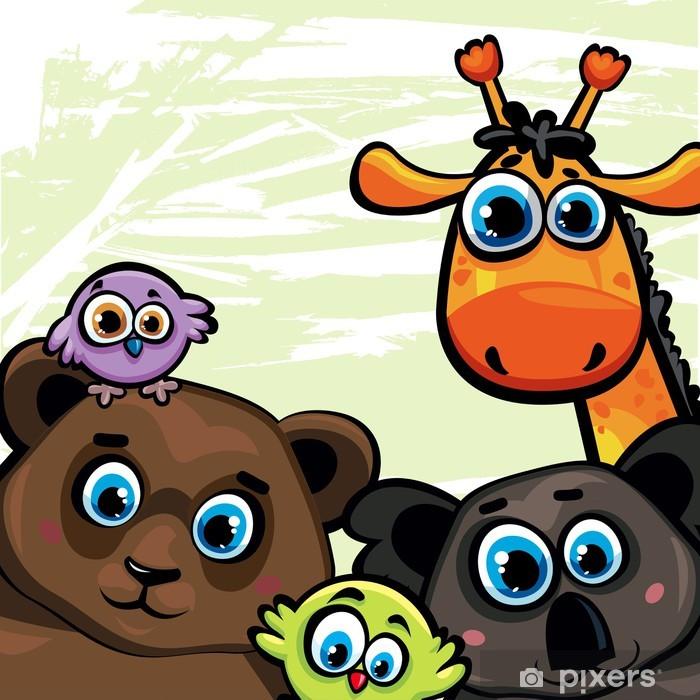 Fotomural Estándar Grupo de animales - oso, jirafa, koala y las aves - Para niña