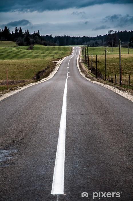 Papier peint vinyle Route asphaltée entre les prairies et ciel orageux - Thèmes