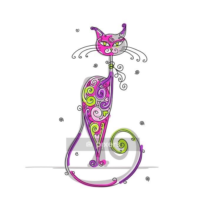 Muursticker Art kat voor uw ontwerp -