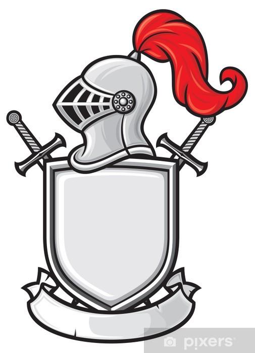 Fotomural Casco de caballero medieval, escudo, espadas cruzadas y la ...