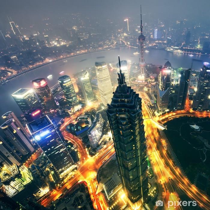 Zelfklevend Fotobehang Shanghai City bij zonsondergang met lichte slepen - Stedelijk