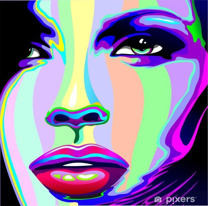 Girl's Portrait Psychedelic Rainbow-Viso Ragazza Psychedelico Pixerstick Sticker -
