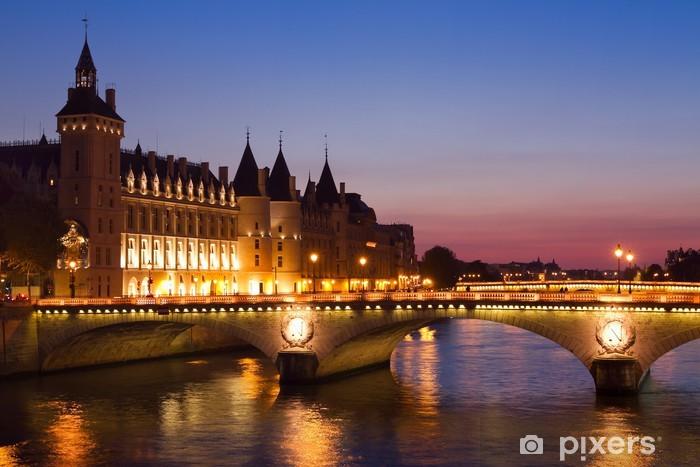Vinyl-Fototapete Paris bei Nacht, Fluss Seine-Brücke - Europäische Städte