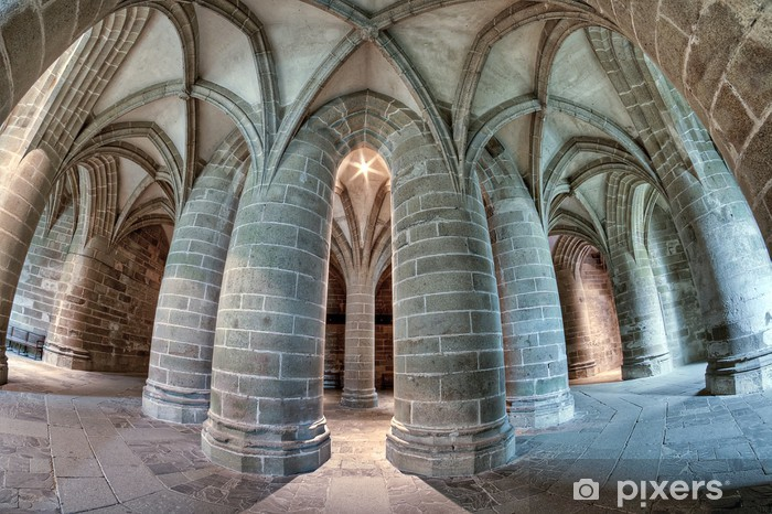 Sticker Pixerstick Abbaye du Mont-Saint-Michel - Crypte des Gros Piliers - Fisheye - Bâtiments publics