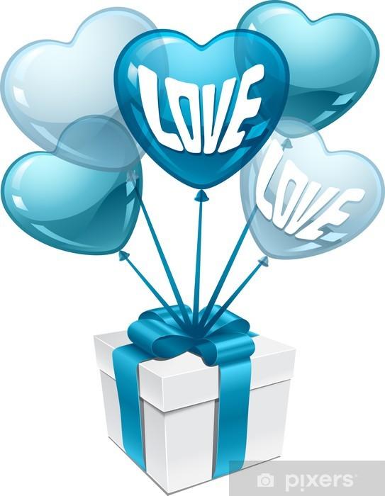 Vinylová fototapeta Souvislosti s balónky ve tvaru srdce a dárkové krabici. - Vinylová fototapeta