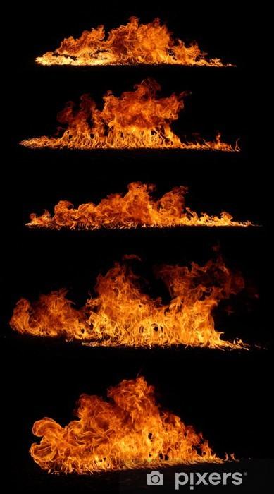 Vinyl-Fototapete Hochauflösende Feuer Sammlung isoliert auf schwarzem Hintergrund - Texturen
