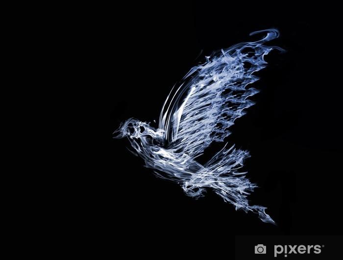 Fototapeta winylowa Dym latania dove odizolowane na czarno - Fikcyjne zwierzęta