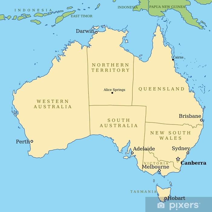 Australien Kort Med Stater Vektor Illustration Plakat Pixers