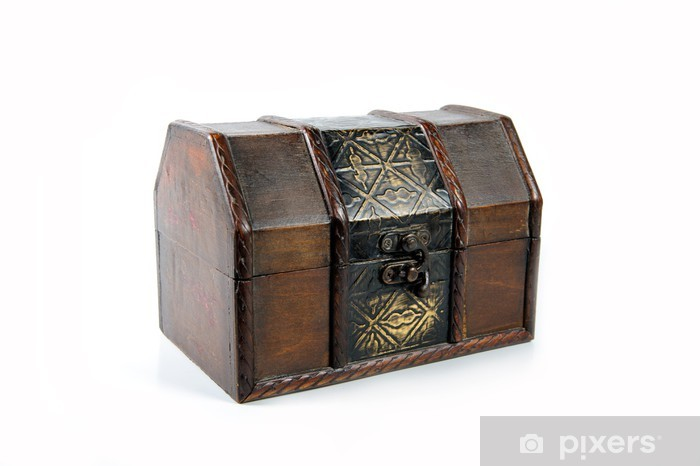 Treasure Wooden Chest Isolated On White Background Wall Mural
