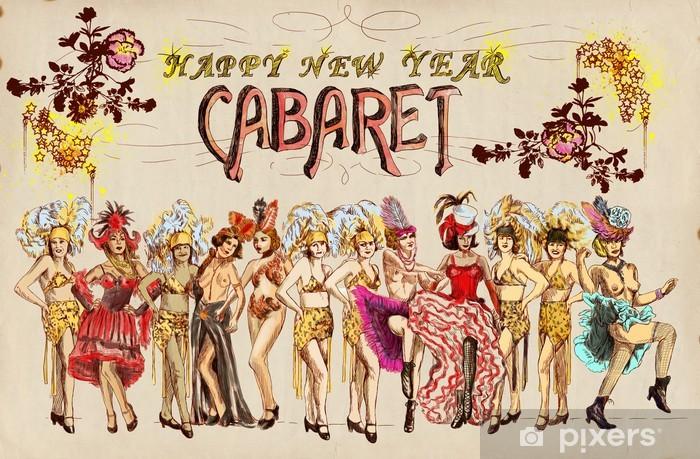 Sticker Cabaret Gelukkig Nieuwjaar Retro Beeld Met Cancan