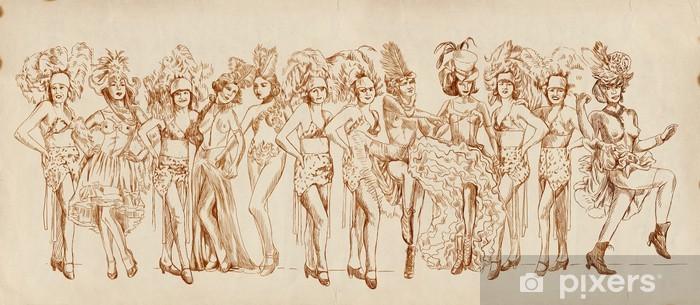 Sticker Pixerstick Cancan danseurs - Rétro image avec beaucoup de show girls - Styles