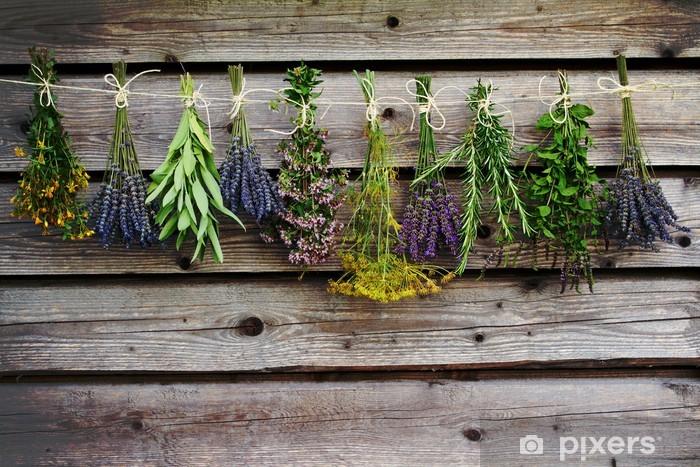 Sticker Pixerstick Herbes de séchage sur la grange en bois dans le jardin - Herbes