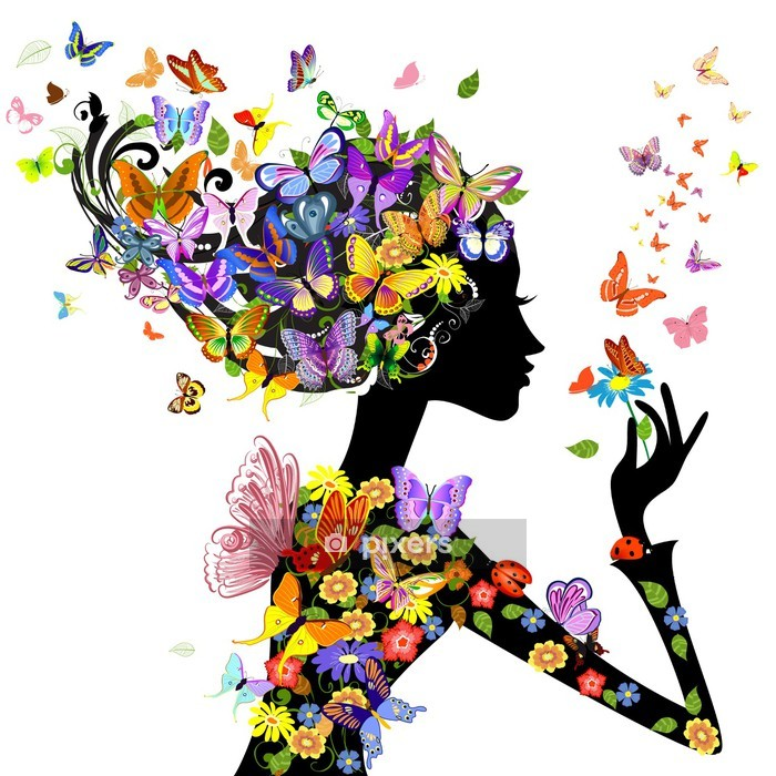 girl fashion flowers with butterflies Wall Decal - Fashion