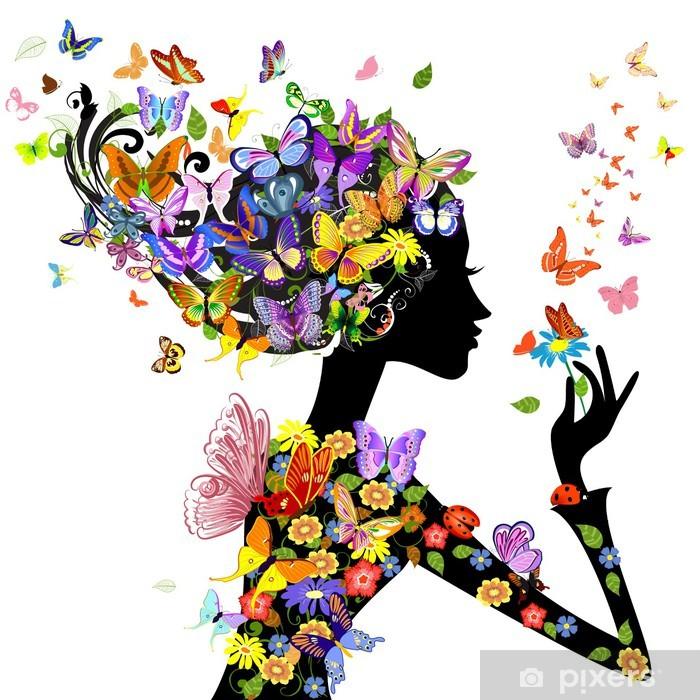 Zelfklevend Fotobehang Meisje, mode, bloemen met vlinders - Mode
