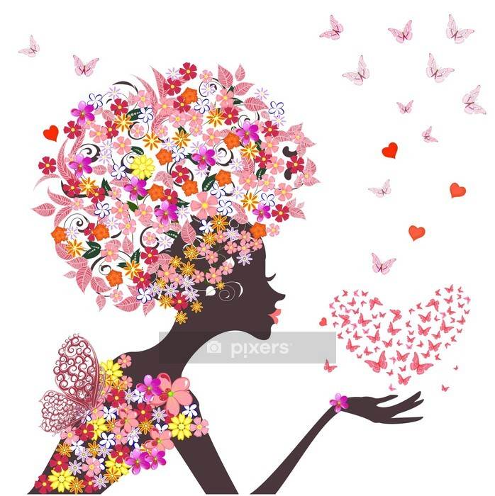 fashion flowers girl with a heart of butterflies Wall Decal - Fashion