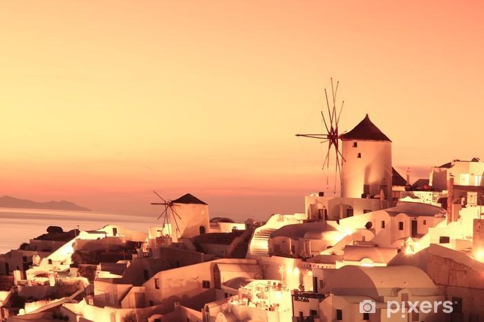 Pixerstick Sticker Windmolens in Santorini tegen zonsondergang, Griekenland - Thema's