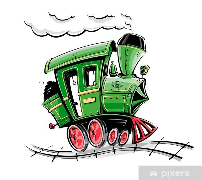 Poster Grün Retro Karikatur Lokomotive Vektor-Illustration isoliert auf - Straßenverkehr