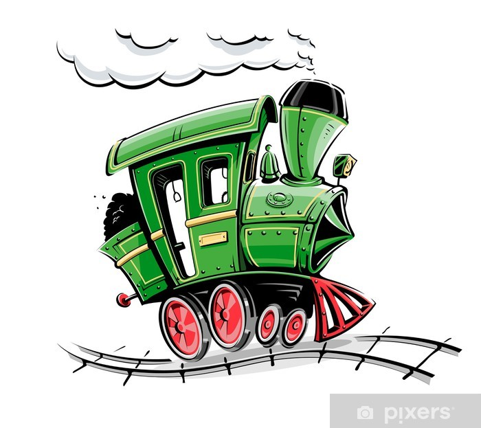 green retro cartoon locomotive vector illustration isolated on Poster - On the Road