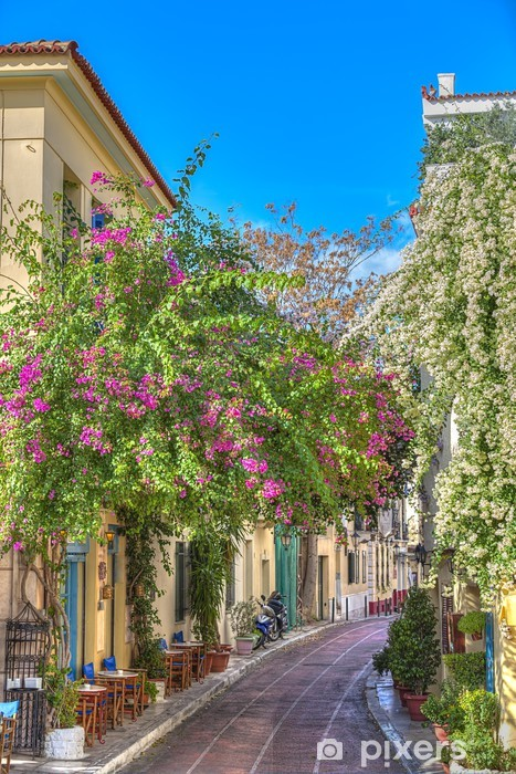 Fototapeta winylowa Tradycyjne domy w dzielnicy Plaka pod Akropol, Ateny, Grecja - Europa