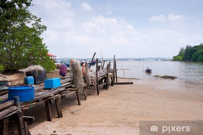 Fototapeta winylowa Plaża i drewniany pomost na Pulau Ubin, Singapur - Woda